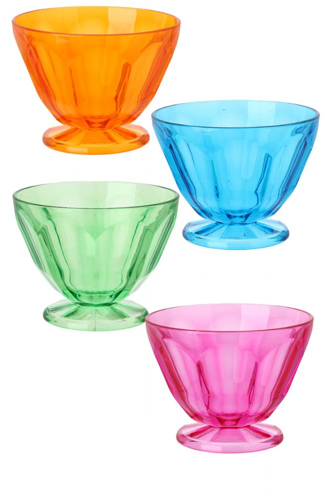 Plastic Party Picnic Bowls Coloured Camping Dessert Ice